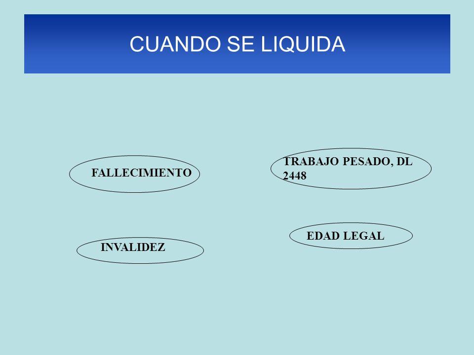 CUANDO SE LIQUIDA EDAD LEGAL TRABAJO PESADO, DL 2448 FALLECIMIENTO INVALIDEZ