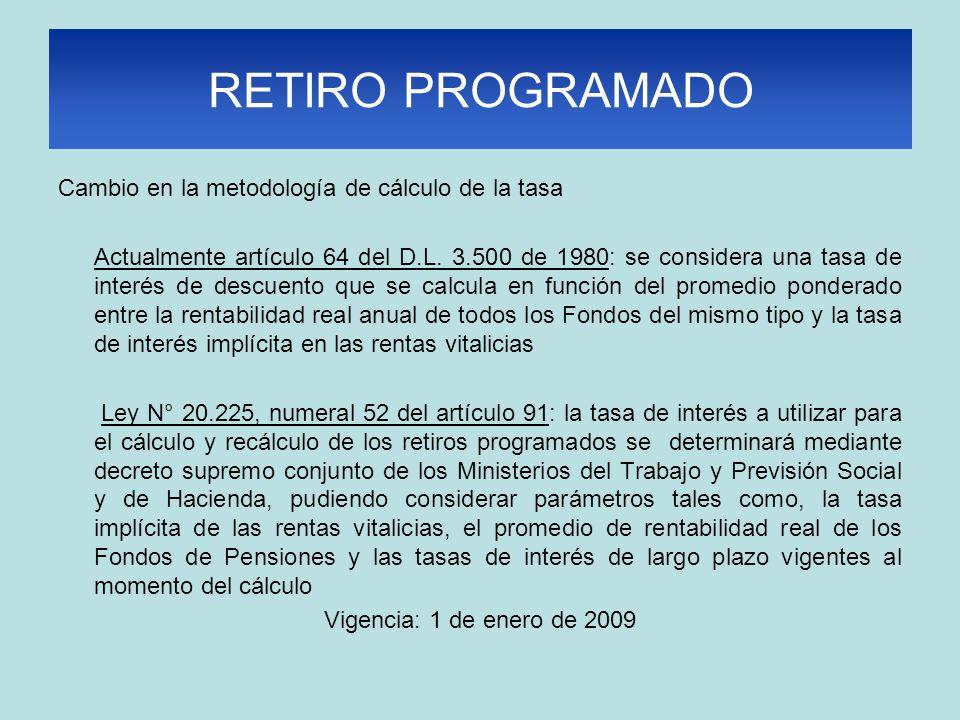 RETIRO PROGRAMADO Cambio en la metodología de cálculo de la tasa Actualmente artículo 64 del D.L. 3.500 de 1980: se considera una tasa de interés de d