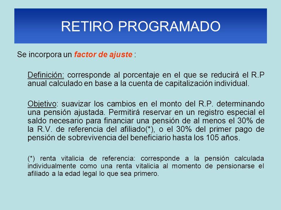 RETIRO PROGRAMADO Se incorpora un factor de ajuste : Definición: corresponde al porcentaje en el que se reducirá el R.P anual calculado en base a la cuenta de capitalización individual.