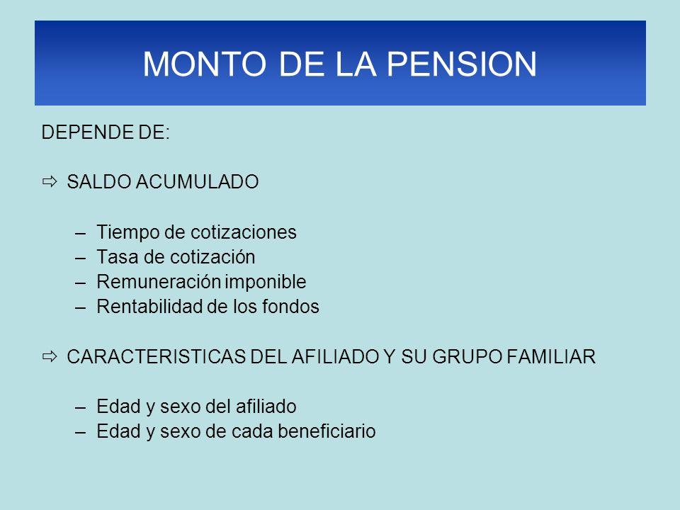 MONTO DE LA PENSION DEPENDE DE: SALDO ACUMULADO –Tiempo de cotizaciones –Tasa de cotización –Remuneración imponible –Rentabilidad de los fondos CARACT