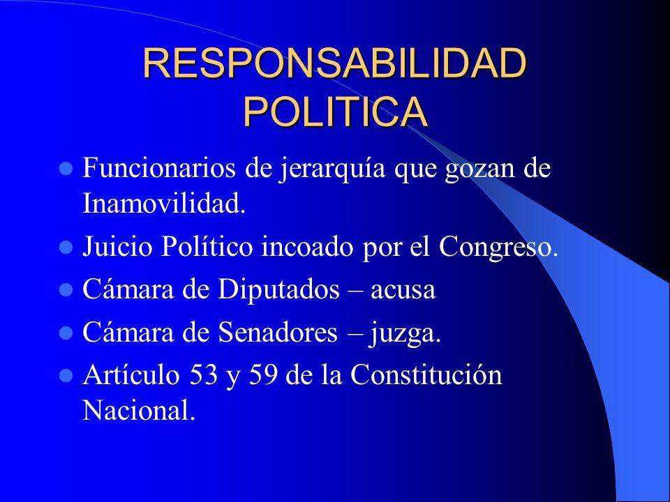 RESPONSABILIDAD POLITICA Funcionarios de jerarquía que gozan de Inamovilidad. Juicio Político incoado por el Congreso. Cámara de Diputados – acusa Cám