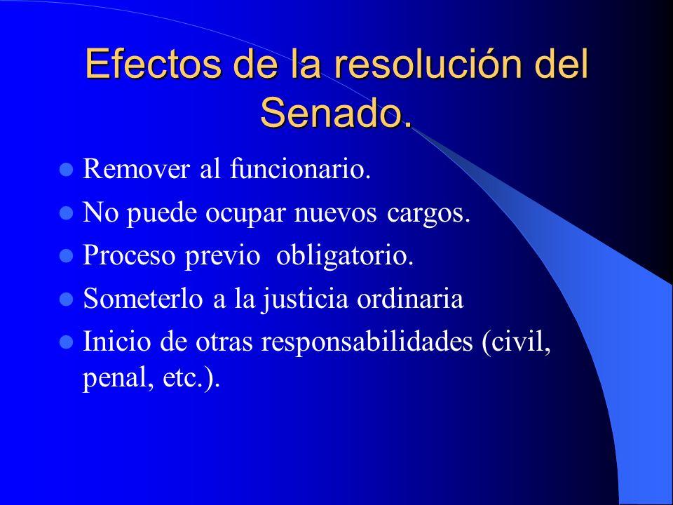 Efectos de la resolución del Senado. Remover al funcionario. No puede ocupar nuevos cargos. Proceso previo obligatorio. Someterlo a la justicia ordina
