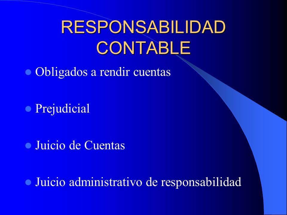 RESPONSABILIDAD CONTABLE Obligados a rendir cuentas Prejudicial Juicio de Cuentas Juicio administrativo de responsabilidad