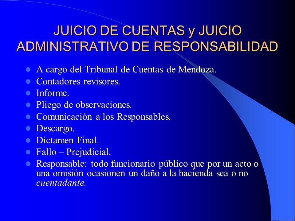 JUICIO DE CUENTAS y JUICIO ADMINISTRATIVO DE RESPONSABILIDAD A cargo del Tribunal de Cuentas de Mendoza. Contadores revisores. Informe. Pliego de obse