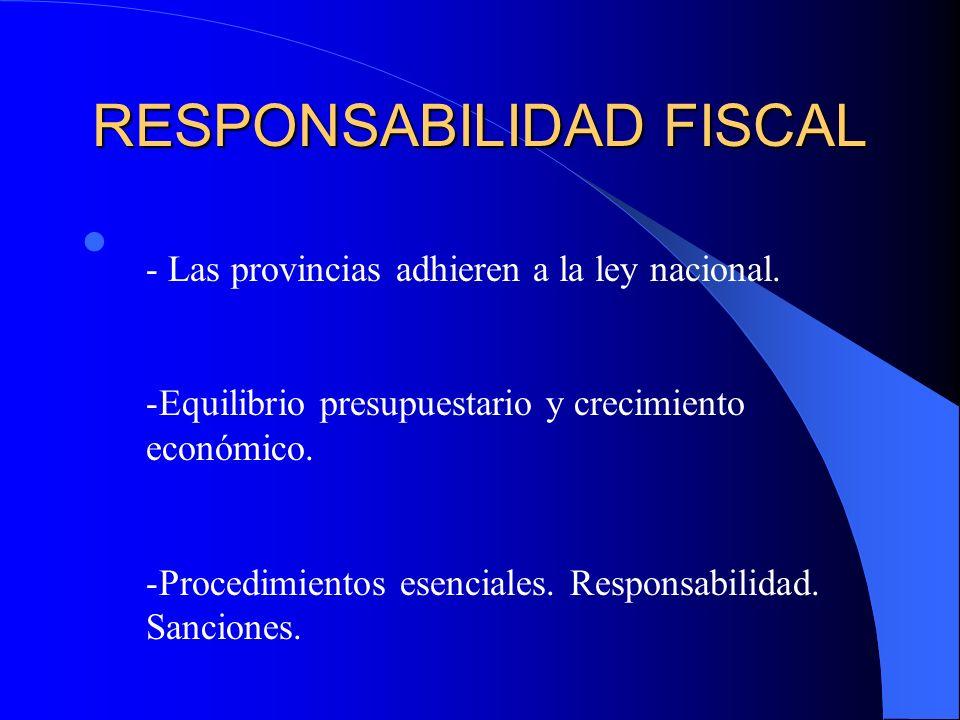 RESPONSABILIDAD FISCAL - Las provincias adhieren a la ley nacional. -Equilibrio presupuestario y crecimiento económico. -Procedimientos esenciales. Re