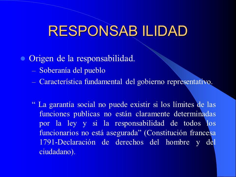 RESPONSAB ILIDAD Origen de la responsabilidad. – Soberanía del pueblo – Característica fundamental del gobierno representativo. La garantía social no