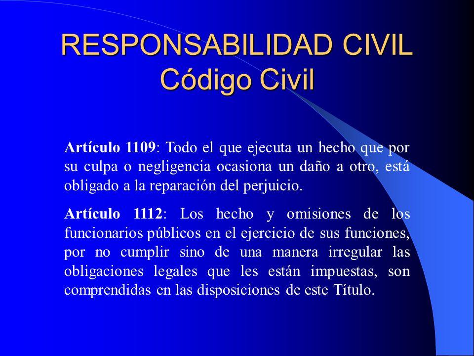 RESPONSABILIDAD CIVIL Código Civil Artículo 1109: Todo el que ejecuta un hecho que por su culpa o negligencia ocasiona un daño a otro, está obligado a