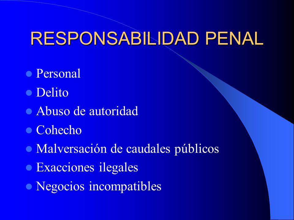 RESPONSABILIDAD PENAL Condena – sanción penal Inhabilitación para el ejercicio de las funciones.