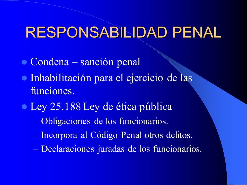RESPONSABILIDAD PENAL Condena – sanción penal Inhabilitación para el ejercicio de las funciones. Ley 25.188 Ley de ética pública – Obligaciones de los