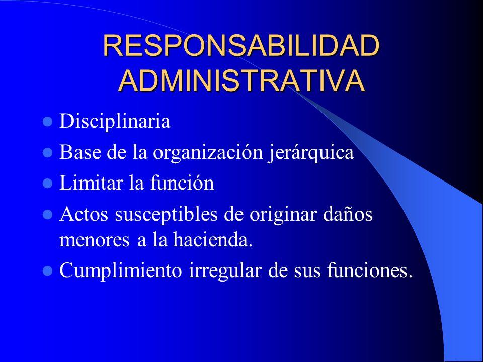 RESPONSABILIDAD ADMINISTRATIVA Disciplinaria Base de la organización jerárquica Limitar la función Actos susceptibles de originar daños menores a la h