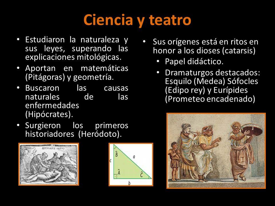 Ciencia y teatro Estudiaron la naturaleza y sus leyes, superando las explicaciones mitológicas. Aportan en matemáticas (Pitágoras) y geometría. Buscar