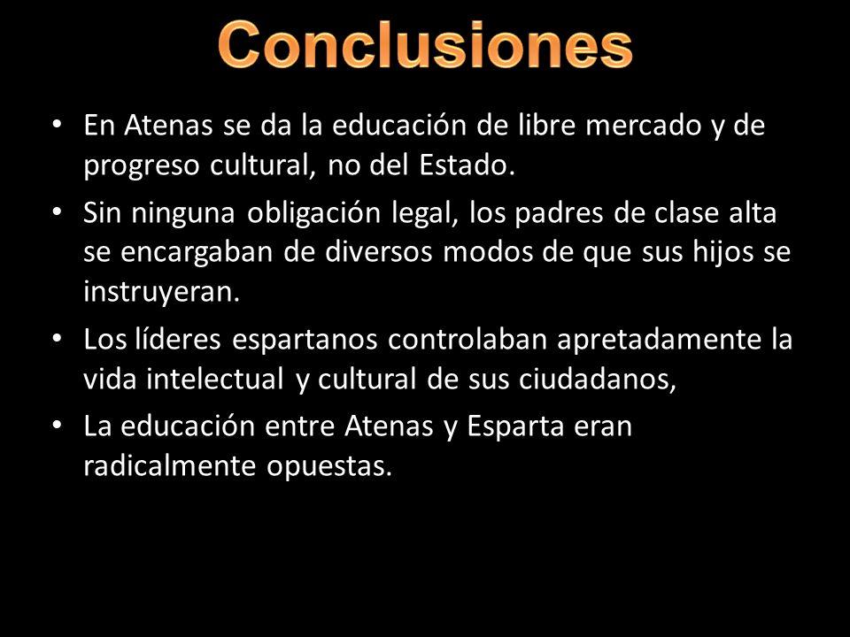 En Atenas se da la educación de libre mercado y de progreso cultural, no del Estado. Sin ninguna obligación legal, los padres de clase alta se encarga