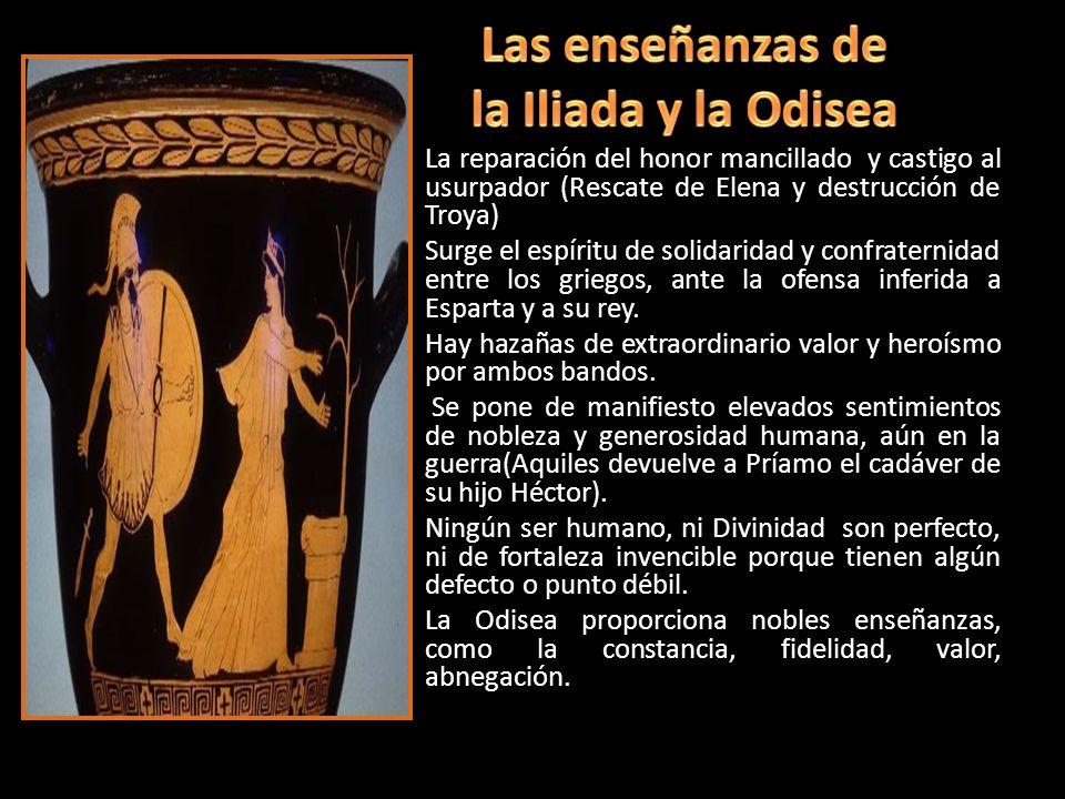 La reparación del honor mancillado y castigo al usurpador (Rescate de Elena y destrucción de Troya) Surge el espíritu de solidaridad y confraternidad