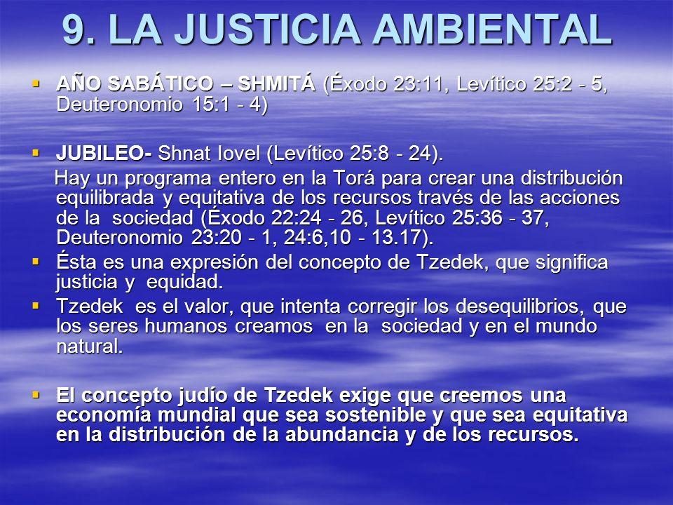 9. LA JUSTICIA AMBIENTAL AÑO SABÁTICO – SHMITÁ (Éxodo 23:11, Levítico 25:2 - 5, Deuteronomio 15:1 - 4) AÑO SABÁTICO – SHMITÁ (Éxodo 23:11, Levítico 25