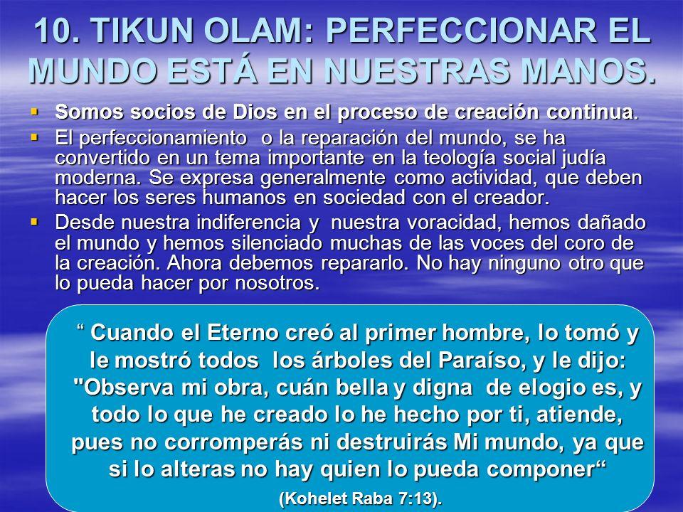 10. TIKUN OLAM: PERFECCIONAR EL MUNDO ESTÁ EN NUESTRAS MANOS. Somos socios de Dios en el proceso de creación continua. Somos socios de Dios en el proc