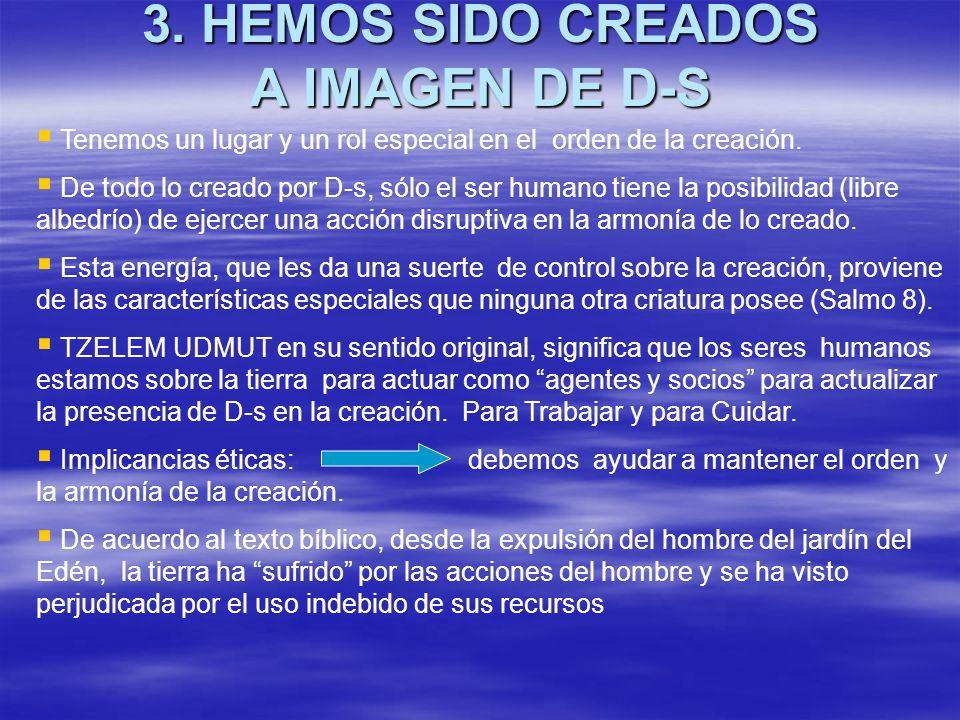 3. HEMOS SIDO CREADOS A IMAGEN DE D-S Tenemos un lugar y un rol especial en el orden de la creación. De todo lo creado por D-s, sólo el ser humano tie