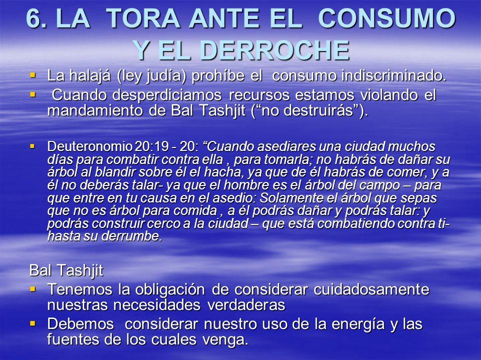 6. LA TORA ANTE EL CONSUMO Y EL DERROCHE La halajá (ley judía) prohíbe el consumo indiscriminado. La halajá (ley judía) prohíbe el consumo indiscrimin
