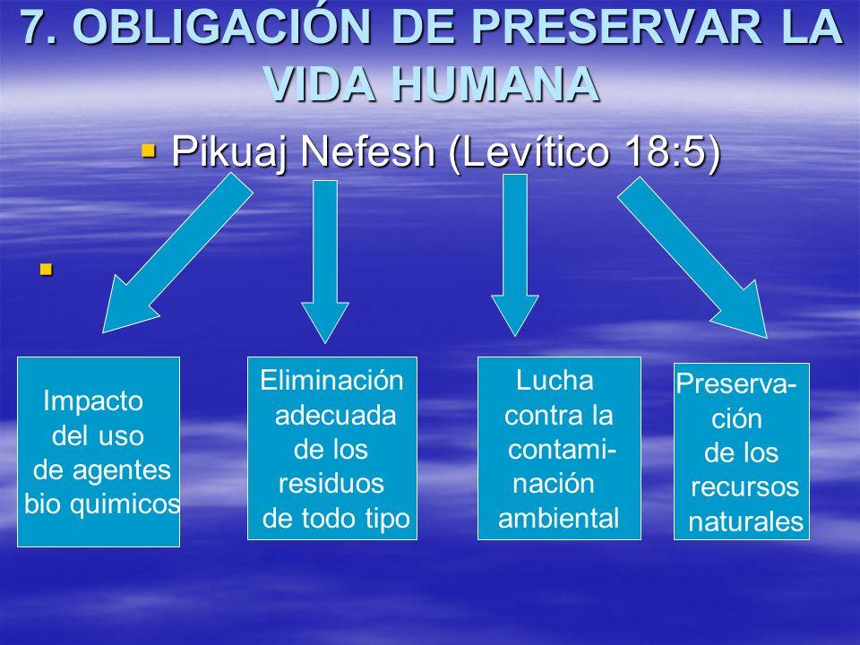 7. OBLIGACIÓN DE PRESERVAR LA VIDA HUMANA Pikuaj Nefesh (Levítico 18:5) Pikuaj Nefesh (Levítico 18:5) Impacto del uso de agentes bio quimicos Eliminac
