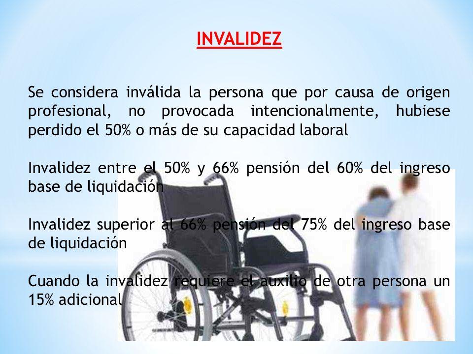 PENSION DE SOBREVIVIENTES Por muerte del afiliado 75% del salario base de liquidación Por muerte del pensionado por invalidez el 100% de lo que estaba recibiendo