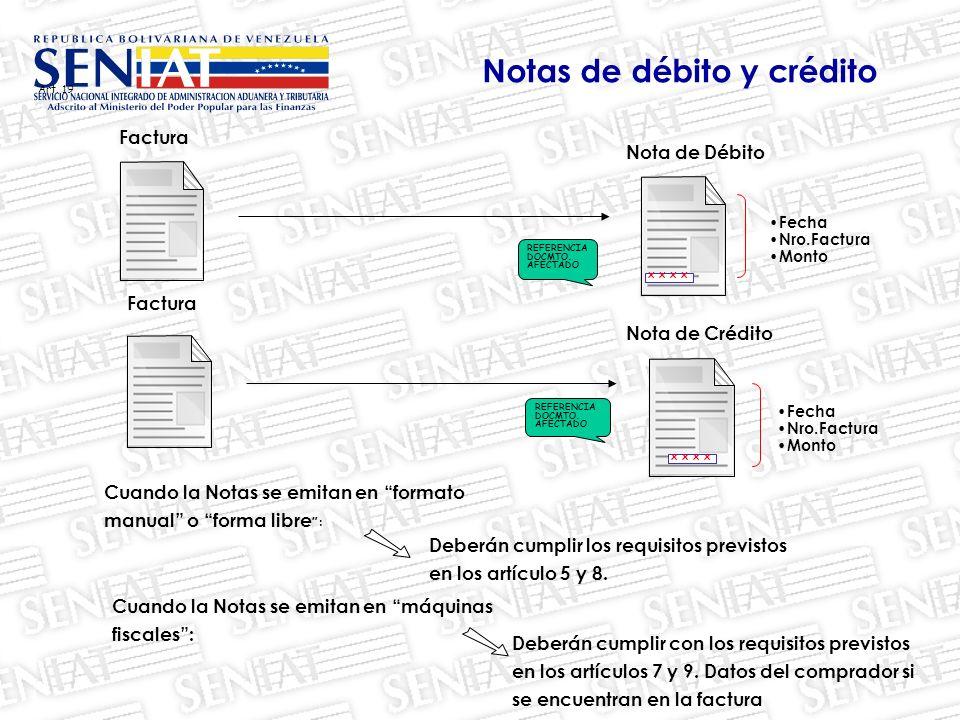 Art.19 Nota de Débito Deberán cumplir los requisitos previstos en los artículo 5 y 8.