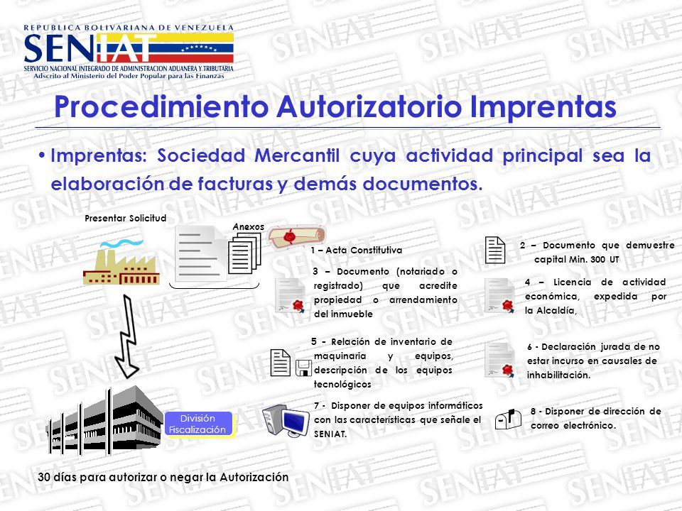 Imprentas: Sociedad Mercantil cuya actividad principal sea la elaboración de facturas y demás documentos.