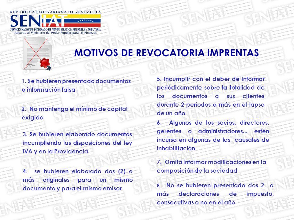 3. Se hubieren elaborado documentos incumpliendo las disposiciones del ley IVA y en la Providencia 1. Se hubieren presentado documentos o información