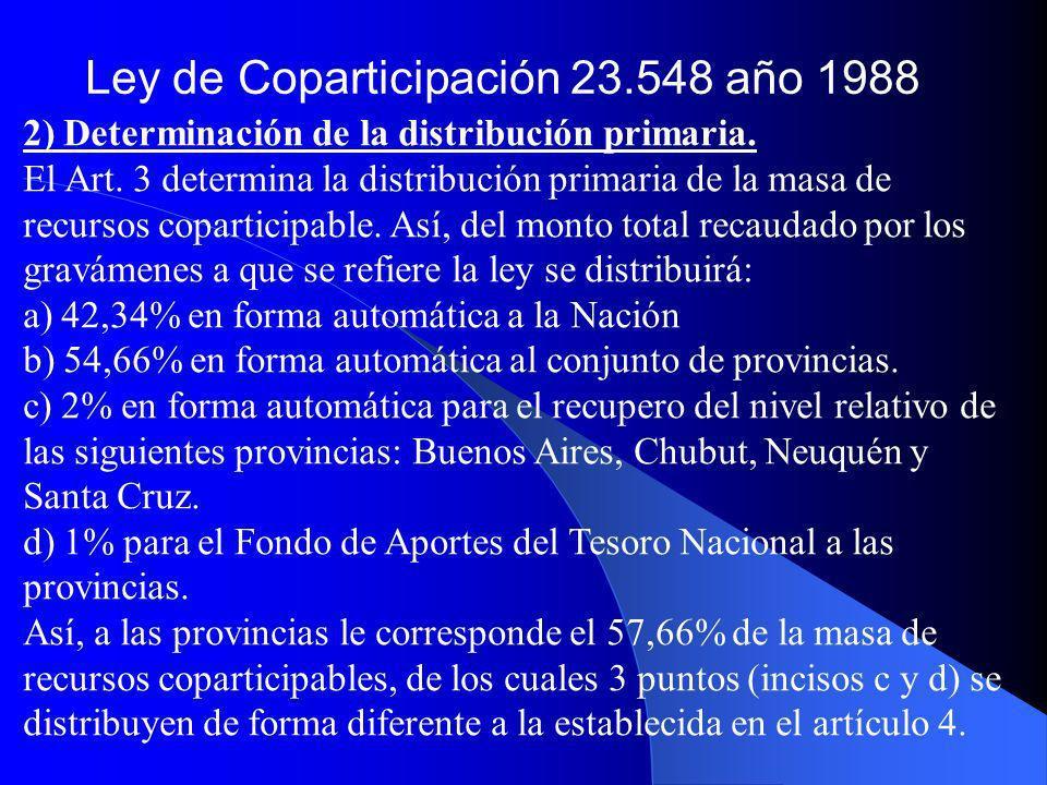 2) Determinación de la distribución primaria. El Art. 3 determina la distribución primaria de la masa de recursos coparticipable. Así, del monto total