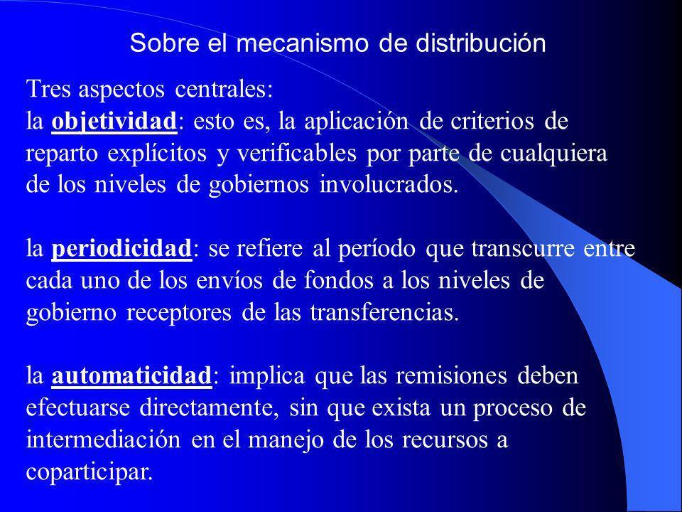 Sobre el mecanismo de distribución Tres aspectos centrales: la objetividad: esto es, la aplicación de criterios de reparto explícitos y verificables p