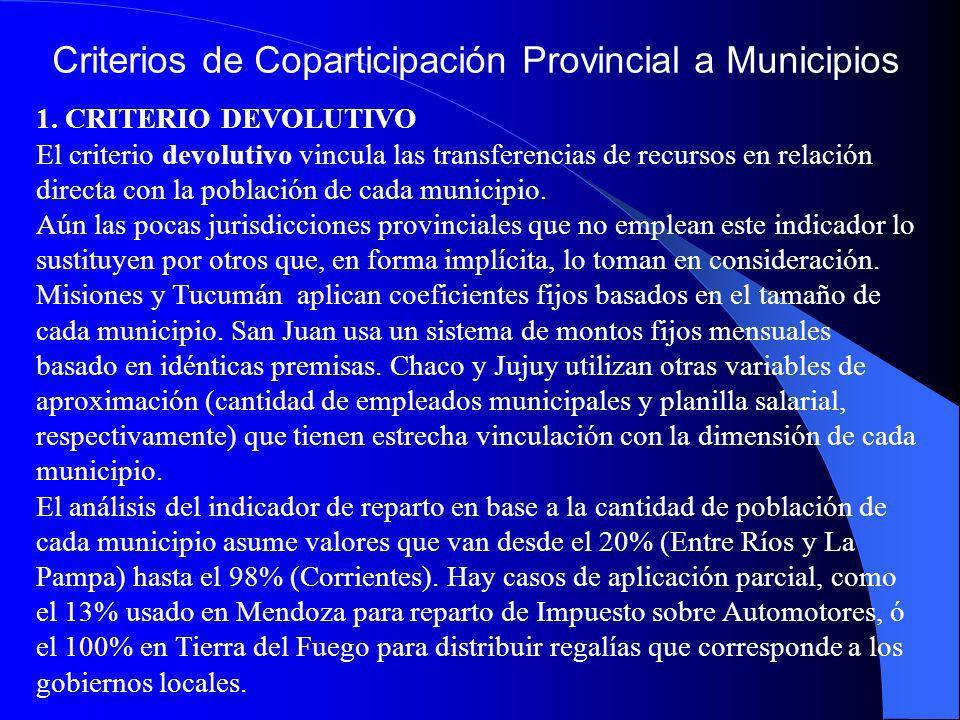 Criterios de Coparticipación Provincial a Municipios 1. CRITERIO DEVOLUTIVO El criterio devolutivo vincula las transferencias de recursos en relación