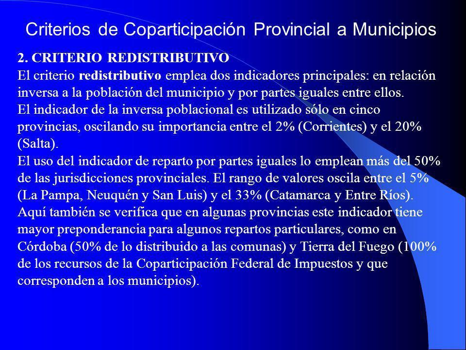 Criterios de Coparticipación Provincial a Municipios 2. CRITERIO REDISTRIBUTIVO El criterio redistributivo emplea dos indicadores principales: en rela