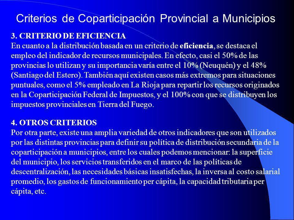 Criterios de Coparticipación Provincial a Municipios 3. CRITERIO DE EFICIENCIA En cuanto a la distribución basada en un criterio de eficiencia, se des