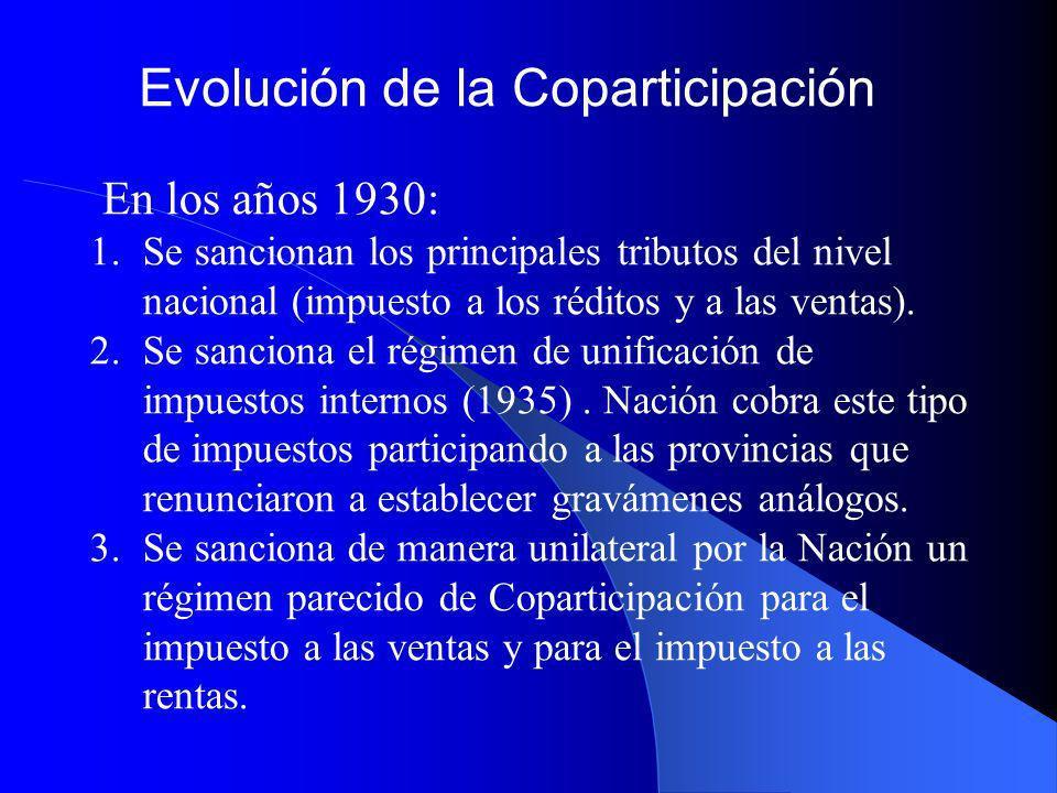 Evolución de la Coparticipación El segundo antecedente data de 1973, Ley 20.201: se unifican los impuestos en un solo Régimen de Coparticipación: Todos los impuestos nacionales Tiempo determinado, luego renovado Adhesiones de Provincias Diciembre de 1984 venció sin prorrogarse.