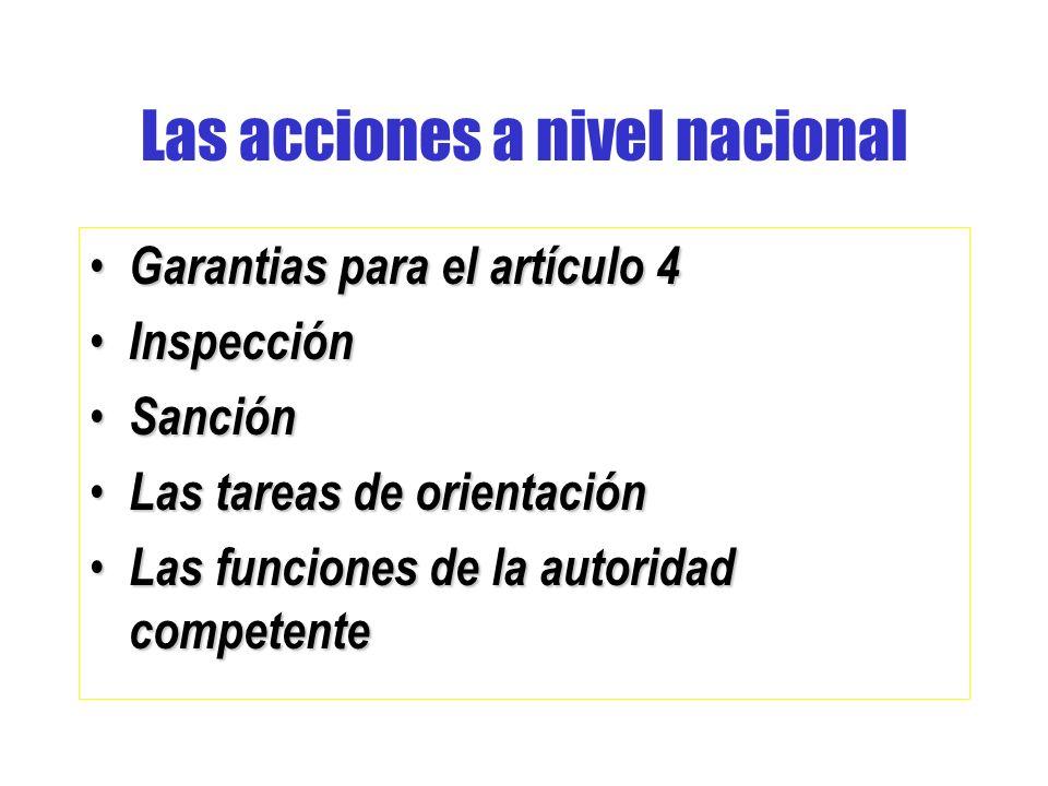 Las acciones a nivel nacional Garantias para el artículo 4 Garantias para el artículo 4 Inspección Inspección Sanción Sanción Las tareas de orientación Las tareas de orientación Las funciones de la autoridad competente Las funciones de la autoridad competente