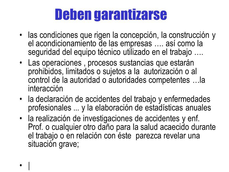Deben garantizarse las condiciones que rigen la concepción, la construcción y el acondicionamiento de las empresas ….