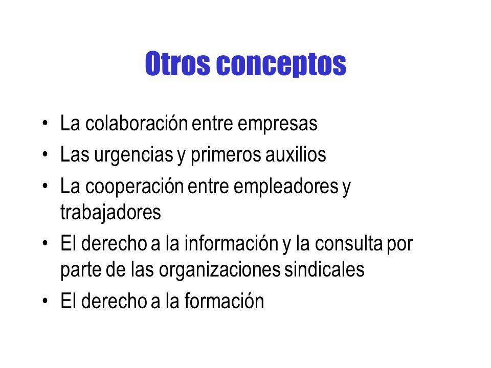 Otros conceptos La colaboración entre empresas Las urgencias y primeros auxilios La cooperación entre empleadores y trabajadores El derecho a la información y la consulta por parte de las organizaciones sindicales El derecho a la formación