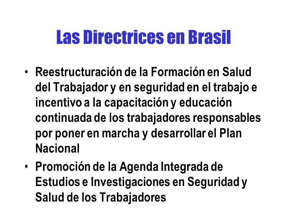 Las Directrices en Brasil Reestructuración de la Formación en Salud del Trabajador y en seguridad en el trabajo e incentivo a la capacitación y educación continuada de los trabajadores responsables por poner en marcha y desarrollar el Plan Nacional Promoción de la Agenda Integrada de Estudios e Investigaciones en Seguridad y Salud de los Trabajadores