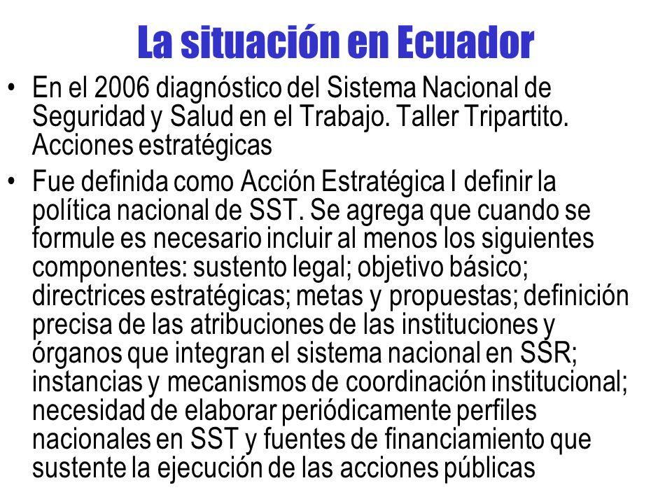 La situación en Ecuador En el 2006 diagnóstico del Sistema Nacional de Seguridad y Salud en el Trabajo.
