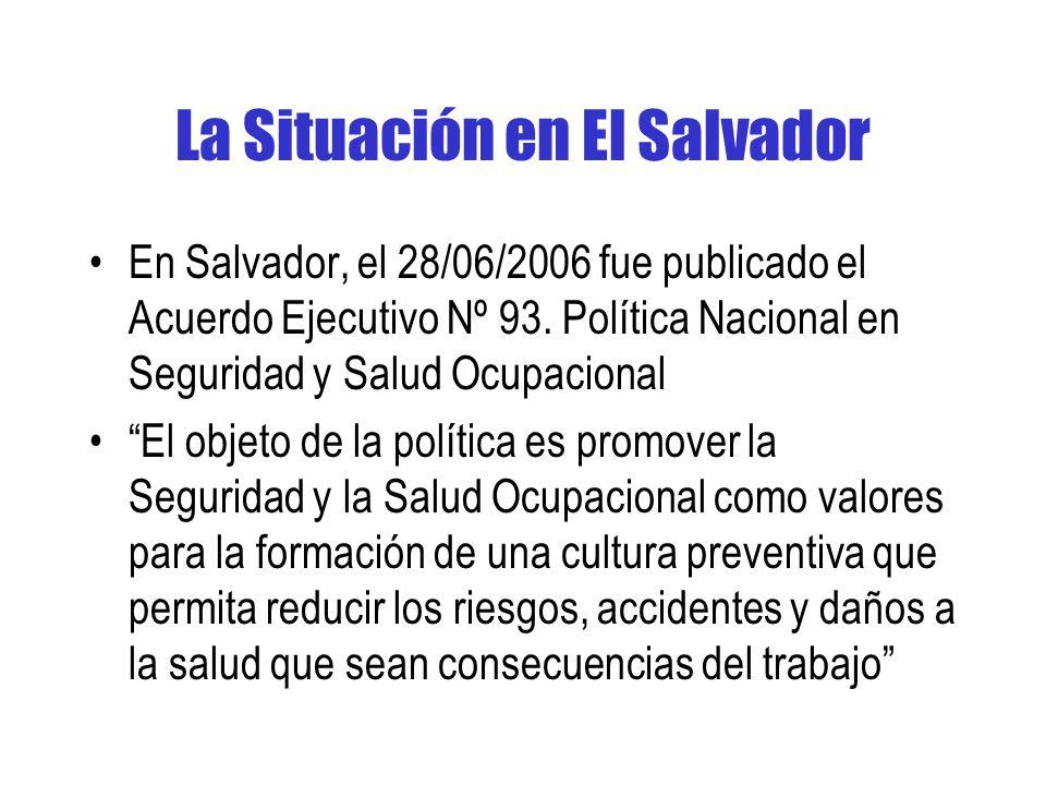 La Situación en El Salvador En Salvador, el 28/06/2006 fue publicado el Acuerdo Ejecutivo Nº 93.