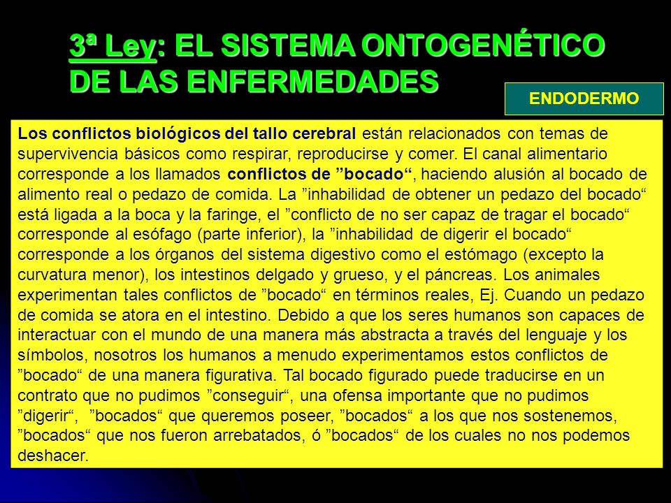 3ª Ley: EL SISTEMA ONTOGENÉTICO DE LAS ENFERMEDADES Los conflictos biológicos del tallo cerebral están relacionados con temas de supervivencia básicos como respirar, reproducirse y comer.