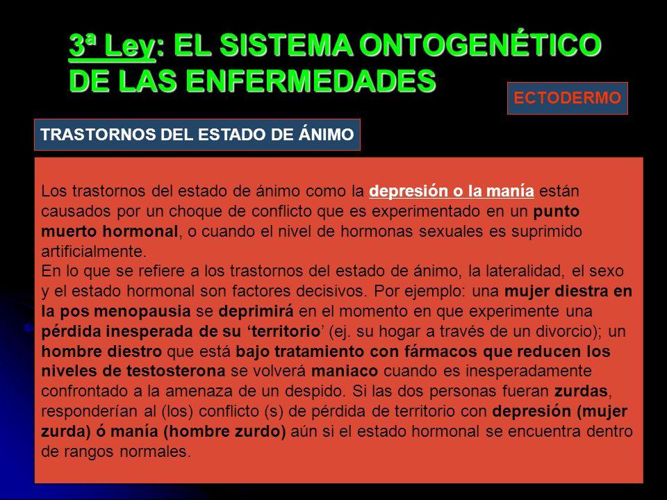3ª Ley: EL SISTEMA ONTOGENÉTICO DE LAS ENFERMEDADES Los trastornos del estado de ánimo como la depresión o la manía están causados por un choque de conflicto que es experimentado en un punto muerto hormonal, o cuando el nivel de hormonas sexuales es suprimido artificialmente.