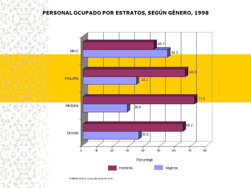 PERSONAL OCUPADO POR ESTRATOS, SEGÚN GÉNERO, 1998