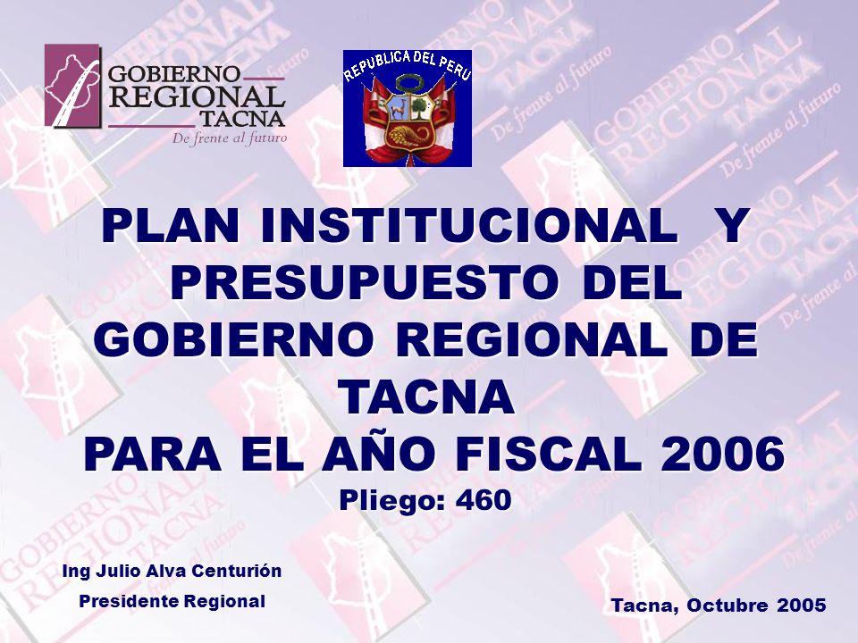 PLAN INSTITUCIONAL Y PRESUPUESTO DEL GOBIERNO REGIONAL DE TACNA PARA EL AÑO FISCAL 2006 PARA EL AÑO FISCAL 2006 Pliego: 460 Tacna, Octubre 2005 Ing Ju