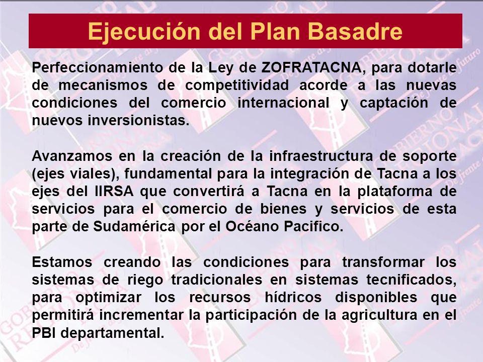 Perfeccionamiento de la Ley de ZOFRATACNA, para dotarle de mecanismos de competitividad acorde a las nuevas condiciones del comercio internacional y c