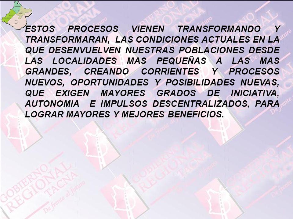 ESTOS PROCESOS VIENEN TRANSFORMANDO Y TRANSFORMARAN, LAS CONDICIONES ACTUALES EN LA QUE DESENVUELVEN NUESTRAS POBLACIONES DESDE LAS LOCALIDADES MAS PE