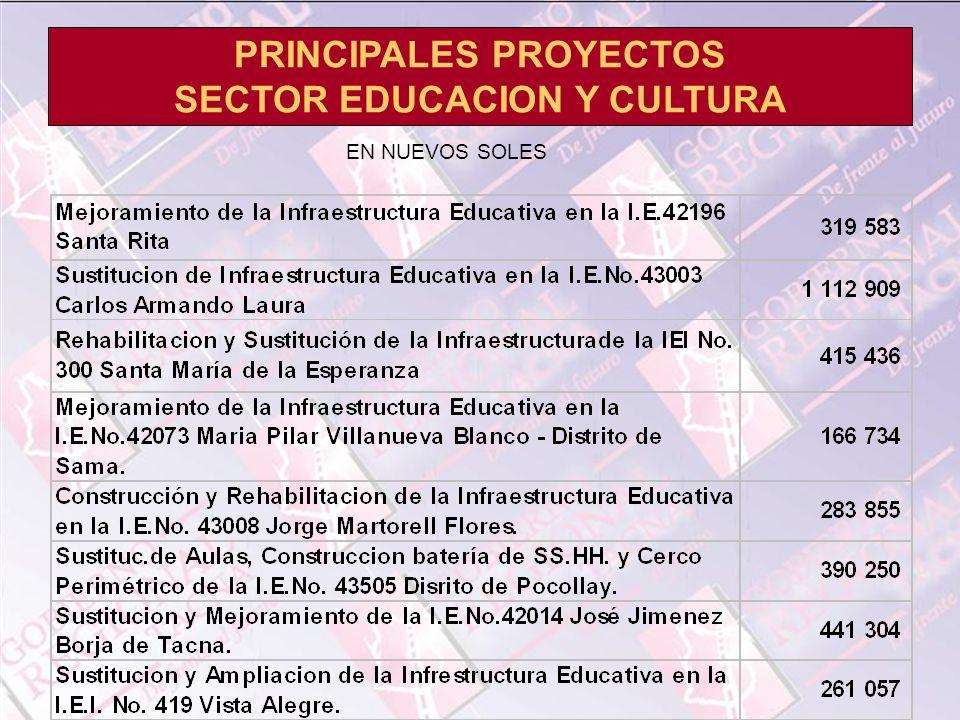 PRINCIPALES PROYECTOS SECTOR EDUCACION Y CULTURA EN NUEVOS SOLES