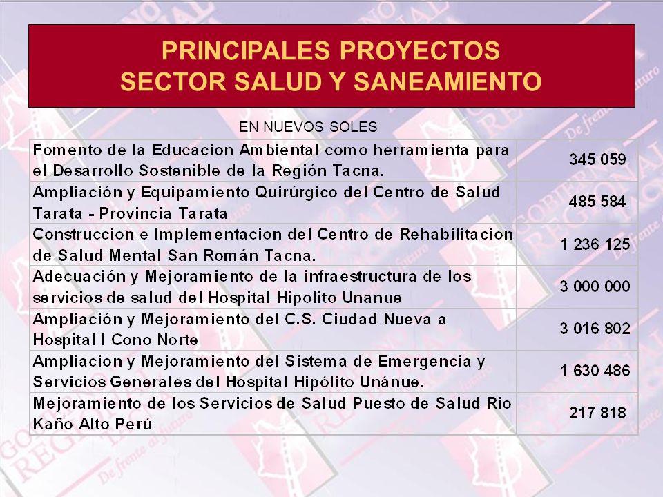PRINCIPALES PROYECTOS SECTOR SALUD Y SANEAMIENTO EN NUEVOS SOLES