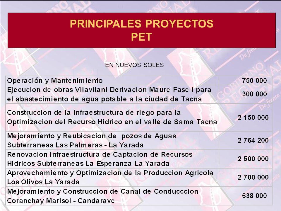 PRINCIPALES PROYECTOS PET EN NUEVOS SOLES