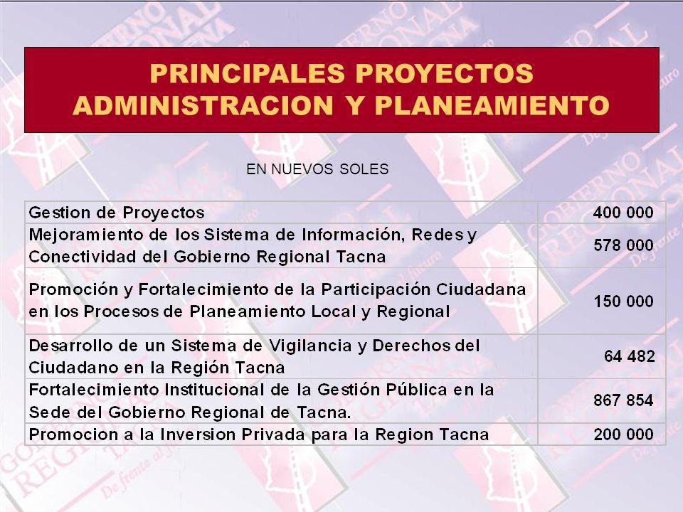 PRINCIPALES PROYECTOS ADMINISTRACION Y PLANEAMIENTO EN NUEVOS SOLES