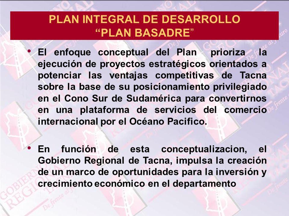 El enfoque conceptual del Plan prioriza la ejecución de proyectos estratégicos orientados a potenciar las ventajas competitivas de Tacna sobre la base