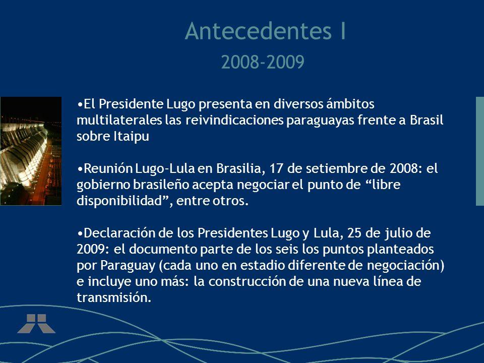 Antecedentes I 2008-2009 El Presidente Lugo presenta en diversos ámbitos multilaterales las reivindicaciones paraguayas frente a Brasil sobre Itaipu R